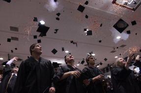 Class Dismissed: Flathead High School's class of 2012 throws their caps into the air during the Friday graduation ceremony in Kalispell. - Justin Franz/Flathead Beacon