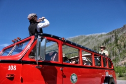 Sherri Camperchioli takes a passenger's photo at the intersection of the Camas and North Fork roads. Of the 35 Red Buses built for Glacier National Park, 33 operate today. One was preserved in its original condition by the National Park Service and another, No. 100, was lost in an accident. Justin Franz   Flathead Beacon.