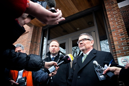 Andy Nelson and Micheal Donahau, attoneys for Jordan Graham, speak to the media Thursday, March 27, 2014, after their client was given 30 years in prison for murdering her husband of eight days in Glacier National Park last summer. Justin Franz   Flathead Beacon
