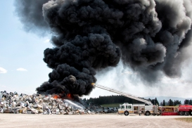 A fire burns at the Flathead County landfill on May 10, 2015. Justin Franz | Flathead Beacon.