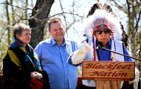 """U.S. Secretary of the Interior Sally Jewell visited the Blackfeet Indian Reservation on May 3, 2016. During a ceremony in Browning, Blackfeet Chief Earl Old Person, right, gave Jewell, left, a Blackfeet name, """"Far Away Woman."""" Justin Franz 