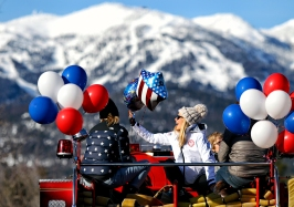 Maggie Voisin was welcomed home to Whitefish on March 7, 2018 with a firetruck ride through downtown after competing at the Winter Olympics. Justin Franz | Flathead Beacon